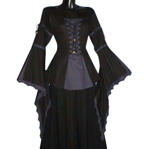 Medieval Blouse Trumpet Sleeves Linen Look