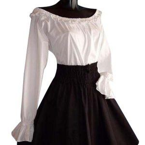 Frilled Medieval Blouse With Long Sleeves
