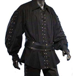 Pirate Shirt with wide collar – Ideal For LARP, SCA and Costume