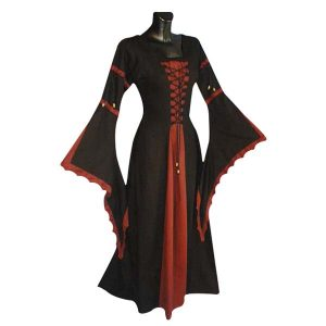 Medieval Dress With Scalloped Trumpet Sleeve And Laced Front