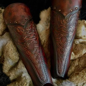 The Asmund Deluxe SCA Leather Greaves
