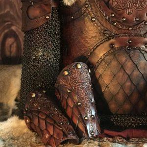 The Sigrun Deluxe larp Leather Vambraces